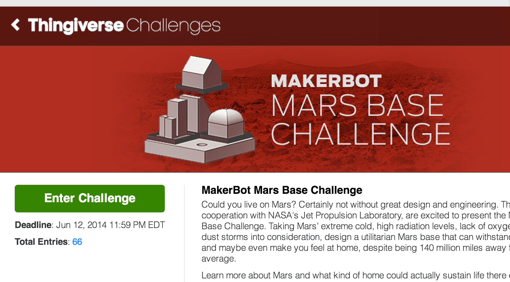NASA, MakerBot Launch Contest for 3D-Printed Mars Base