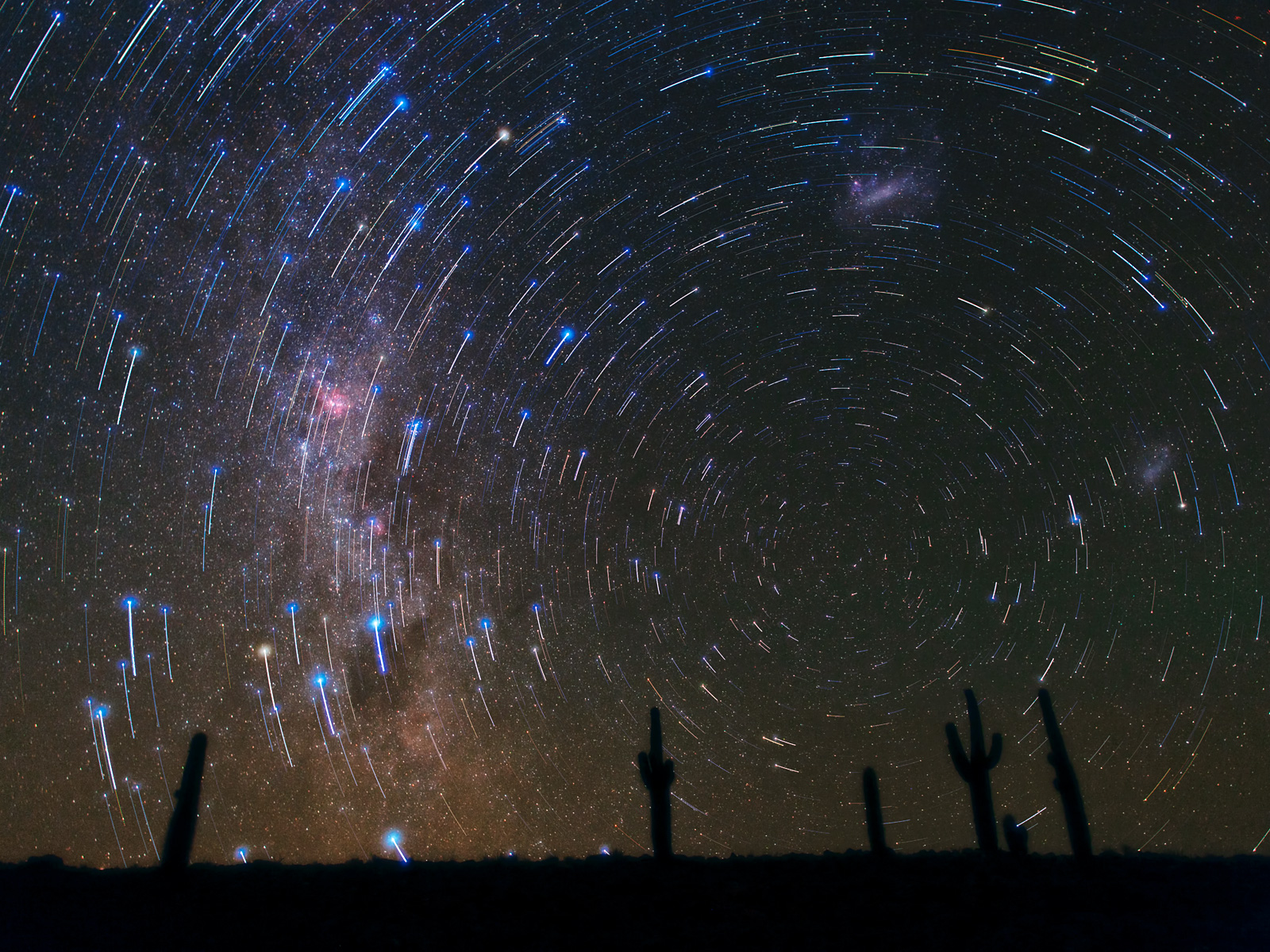 Star Trails Circling South Celestial Pole