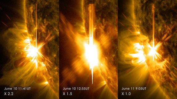 Three X-class flares erupted from the left side of the sun June 10-11, 2014. These images are from NASA's Solar Dynamics Observatory and show light in a blend of two ultraviolet wavelengths: 171 and 131 angstroms.