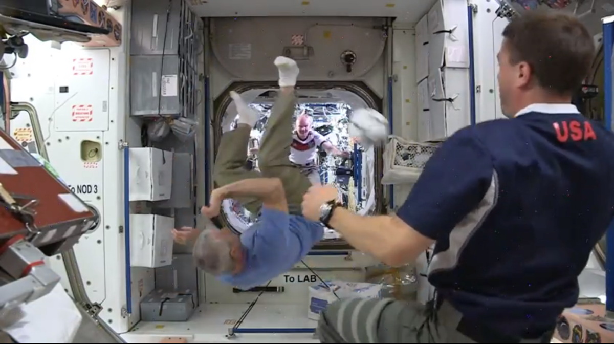 Astronauts Kick a Ball Aboard the International Station
