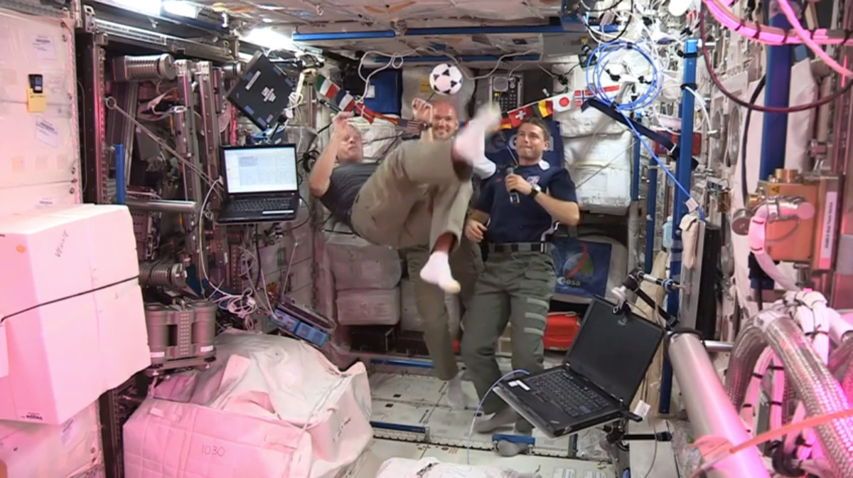 World Cup in Space: Astronauts Play Cosmic Soccer on Space Station (Video)