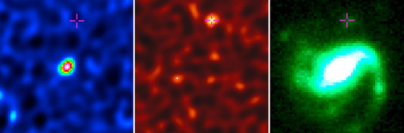Observations of galaxy GRB 020819B of molecular gas (left) and dust (middle) done by the Atacama Large Millimeter/submillimeter Array (ALMA). At right is a visible-light image from the Frederick C. Gillett Gemini North Telescope. The cross indicates the site of a gamma-ray burst in the region.