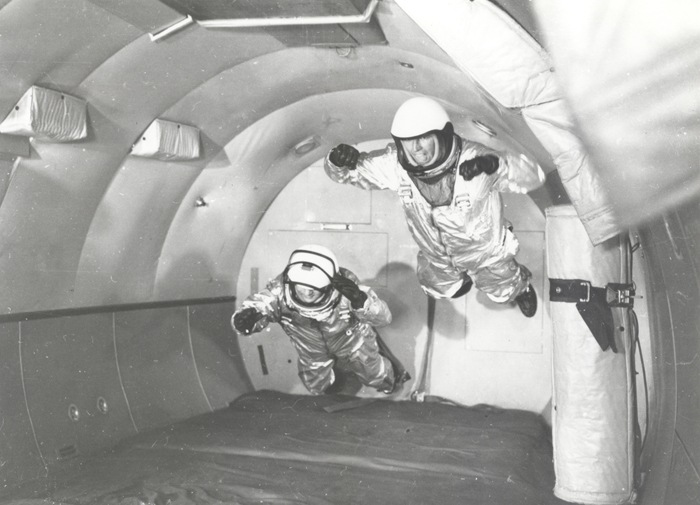 Space History Photo:  Mercury Astronauts in Weightless Flight on C-131 Aircraft