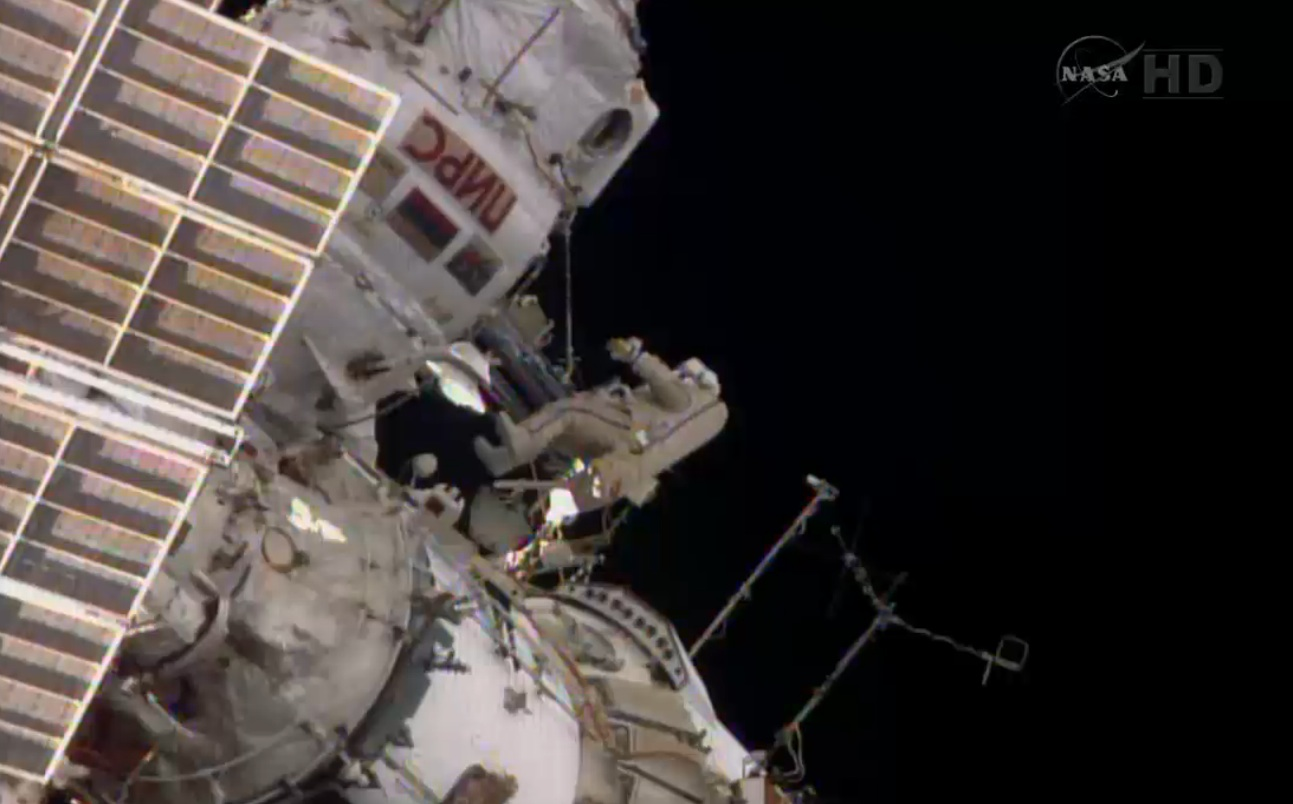 Cosmonauts Venture Outside Space Station for Spacewalk
