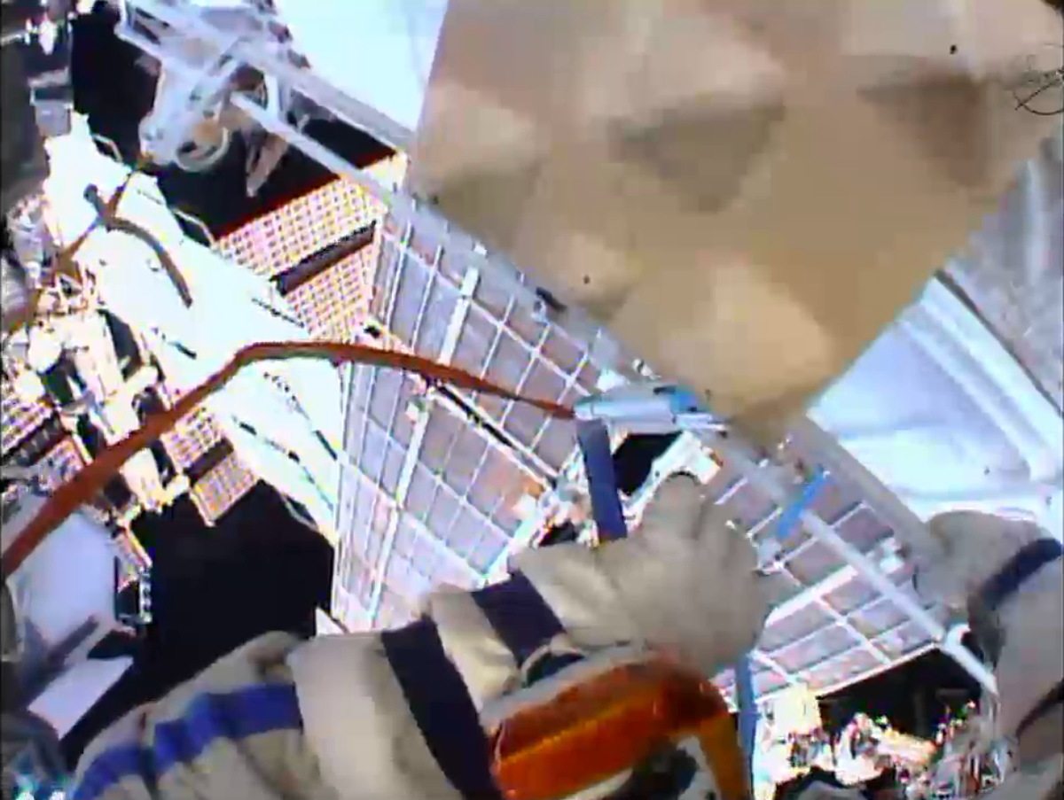 Spacewalk Helmet Camera Image