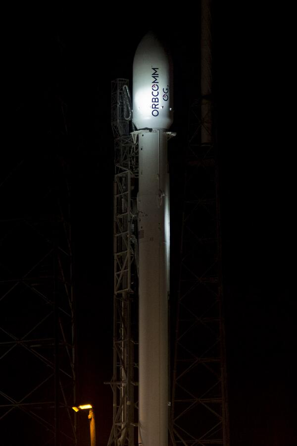 SpaceX Falcon 9 Before Launching Orbcomm OG2 Satellites