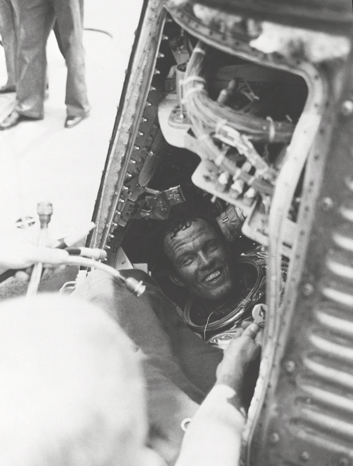 Space History Photo: Cooper Inside Faith 7 After Hatch is Blown