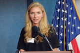 Time Capsule to Mars founder and mission director Emily Briere speaks at the National Press Club on June 23, 2014.