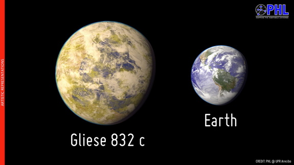 This artist's illustration compares the size of potentially habitable exoplanet Gliese 832 c to that of Earth. The exoplanet may be larger if composed of gas/ice. Image released June 24, 2014.