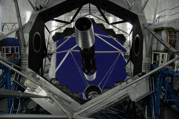 The primary mirror assembly of the 10-meter Keck II telescope is made of 36 parts that can adapt to atmospheric conditions.