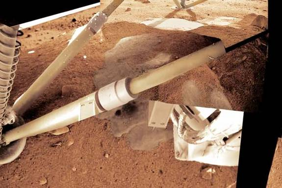 Water droplets collected on NASA's Phoenix lander's legs on Mars.