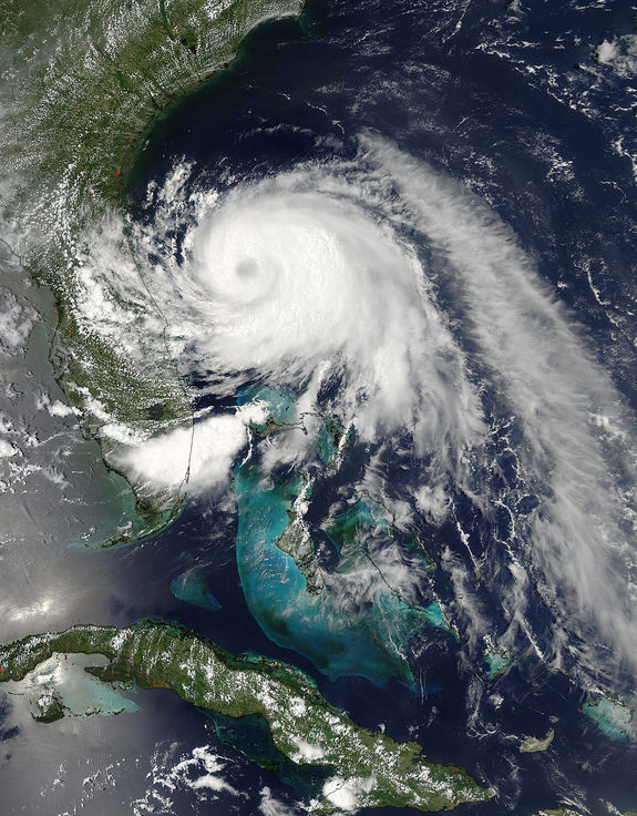 This image of Tropical Storm Arthur off the coast of Florida was taken by the MODIS instrument aboard NASA's Aqua satellite on July 2, 2014.