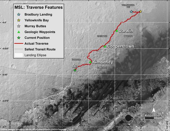 "This recent map shows in red the route driven by NASA's Curiosity Mars rover from the ""Bradbury Landing"" location where it touched down in August 2012 (blue star at upper right) through the 663rd Martian day, or sol, of the rover's work on Mars. The white line shows the planned route ahead to reach ""Murray Buttes"" (at white star), the chosen access point to destinations on Mount Sharp."