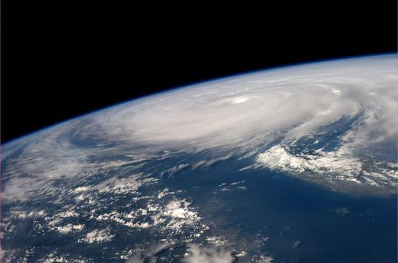 """Super Typhoon #Neoguri over Taiwan. 0740 GMT, July 8th,"" NASA astronaut Reid Wiseman tweeted along with this photo posted from the International Space Station."