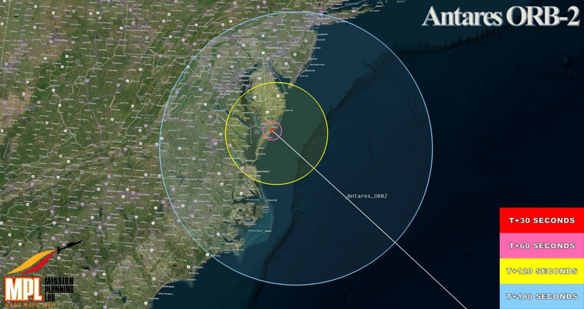 Antares Orb-2 Mission Launch VIsibility Map