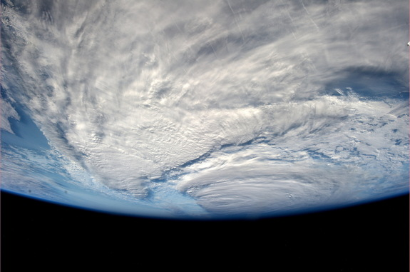 """Neoguri update: looks like a big piece is missing from this Typhoon. Amazing to see this happen in less than one day!,"" wrote ESA's Alexander Gerst from the International Space Station July 8."