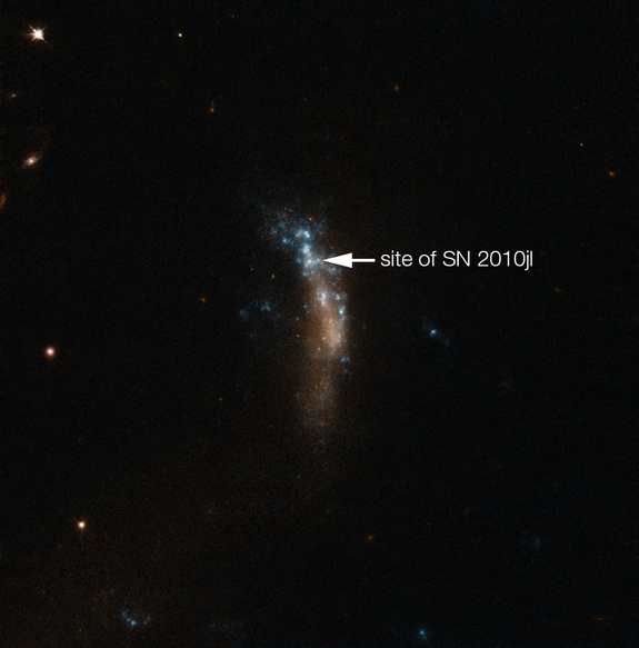 The location of the bright supernova SN 2010jl in the dwarf galaxy UGC 5189A is shown in this image captured by the NASA/ESA Hubble Space Telescope. A new study of the supernova by astronomers using the Very Large Telescope at the European Southern Observatory in Chile has revealed a new glimpse into how dust forms around supernovas.