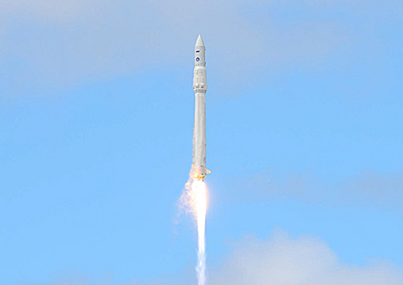 Russia's first Angara rocket, a next-generation launch vehicle, streaks toward space carrying a dummy payload during its debut test flight on July 9, 2014 launched from the Plesetsk Cosmosdrome in northern Russia.