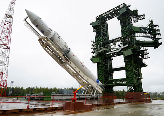 The first Angara rocket is raised into launch position at Russia's Plesetsk Cosmodrome for its maiden launch. The rocket launched a dummy payload on July 9, 2014.