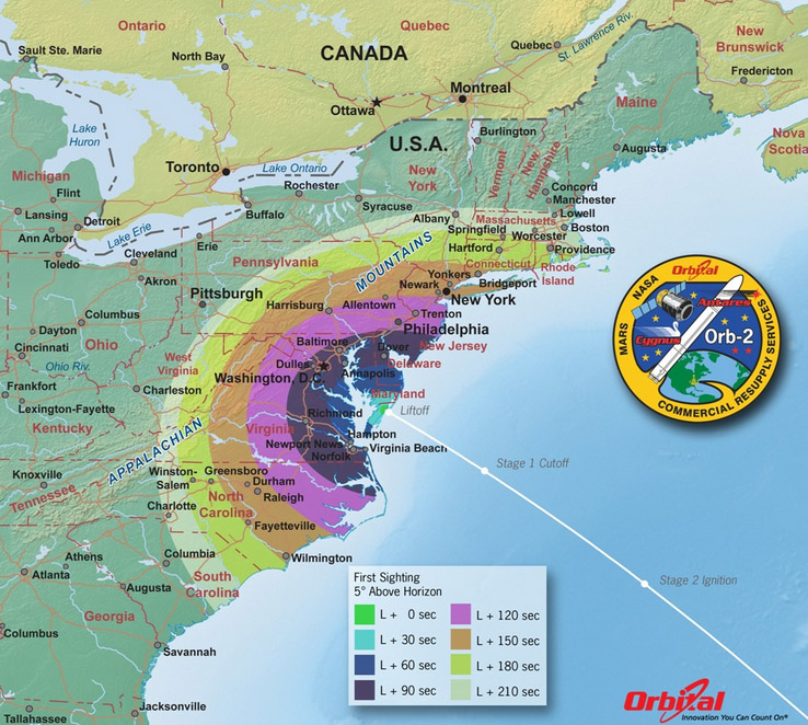 Map of First-Sight Viewing Times of the Orbital-2 Launch