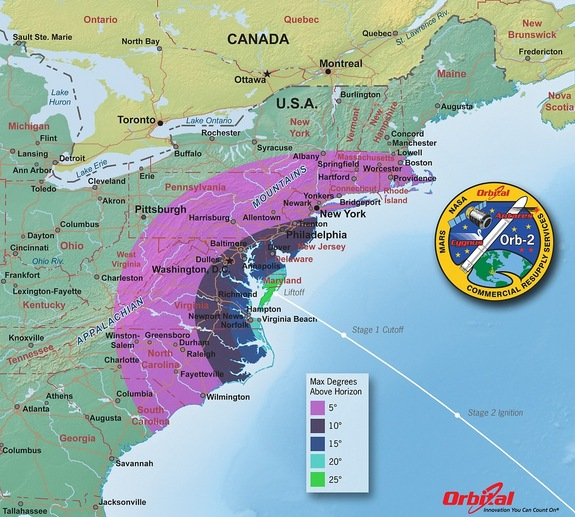 East Coasters may have the chance to see the Antares rocket loft the Cygnus spacecraft into orbit when it takes off Sunday (July 13) at 12:52 p.m. EDT (1652 GMT). This map shows how many degrees viewers should look above the horizon.