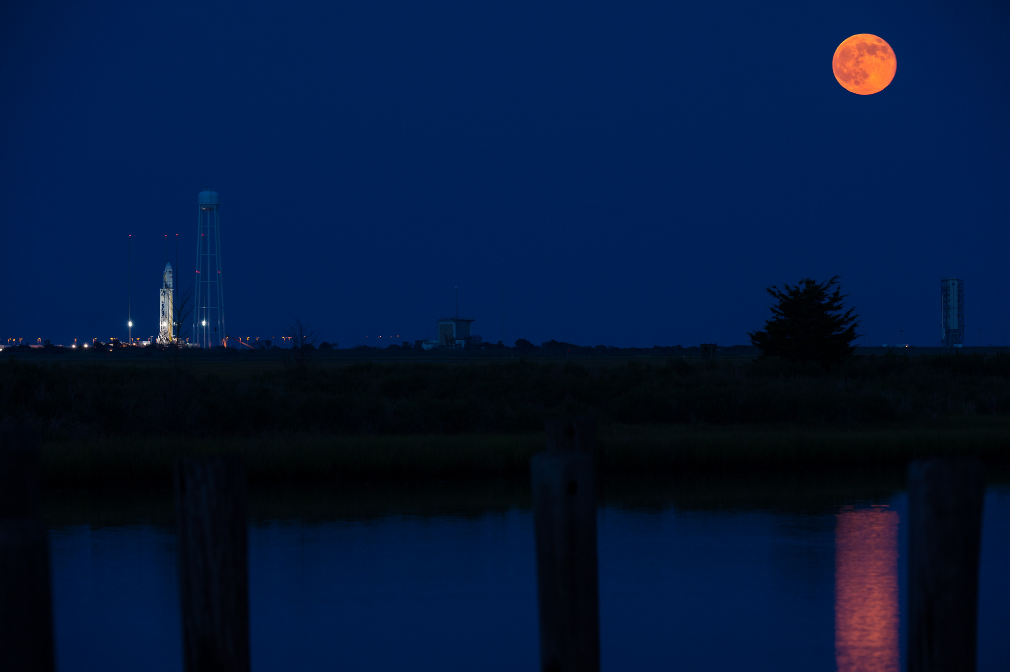 Supermoon and Antares Rocket: July 12, 2014