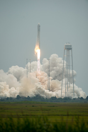 An Orbital Sciences Corporation Antares rocket launches the Cygnus cargo ship from Pad-0A at NASA's Wallops Flight Facility on Wallops Island, Virginia on Sunday, July 13, 2014. The commercial mission will deliver supplies to astronauts on the International Space Station.