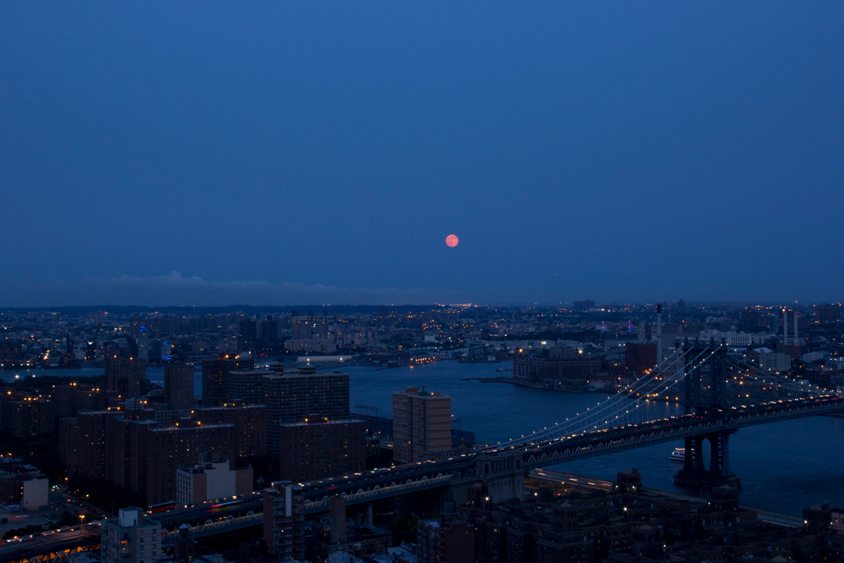 Supermoon of July 12, 2014, Over the Manhattan Bridge in NYC
