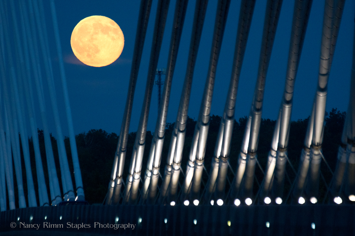 Supermoon July 2014 Over the Penobscot Narrows Bridge