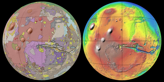 "This new global geologic map of Mars depicts the most thorough representation of the ""Red Planet's"" surface. This map provides a framework for continued scientific investigation of Mars as the long-range target for human space exploration."