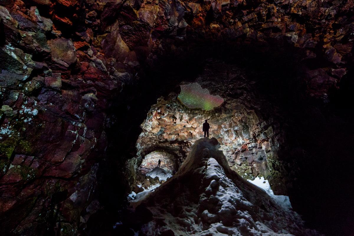 Cave with Aurora Skylight by Ingólfur Bjargmundsson