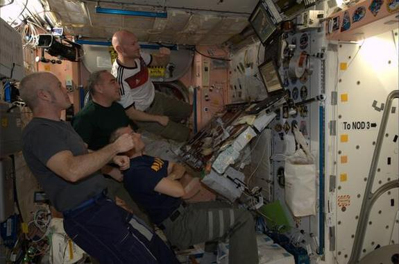 ESA's Alexander Gerst watches Germany play Argentina in the 2014 FIFA World Cup final from the International Space Station. Germany went on to win the tournament.