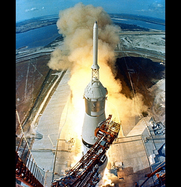 The swing arms of the launch tower move away, signaling the launch of the Apollo 11 mission to the moon on July 16, 1969.