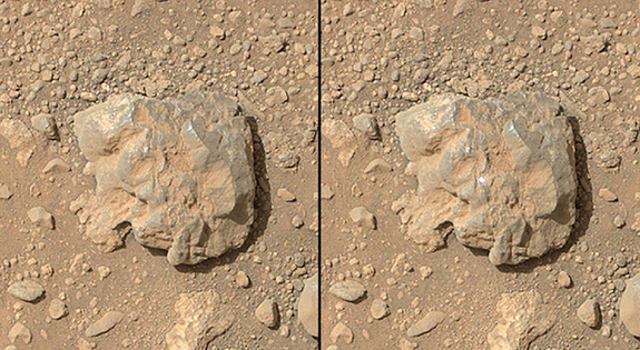 NASA's Curiosity Mars rover used the Mars Hand Lens Imager (MAHLI) camera on its arm to catch the first images of sparks produced by the rover's laser being shot at a rock on Mars.