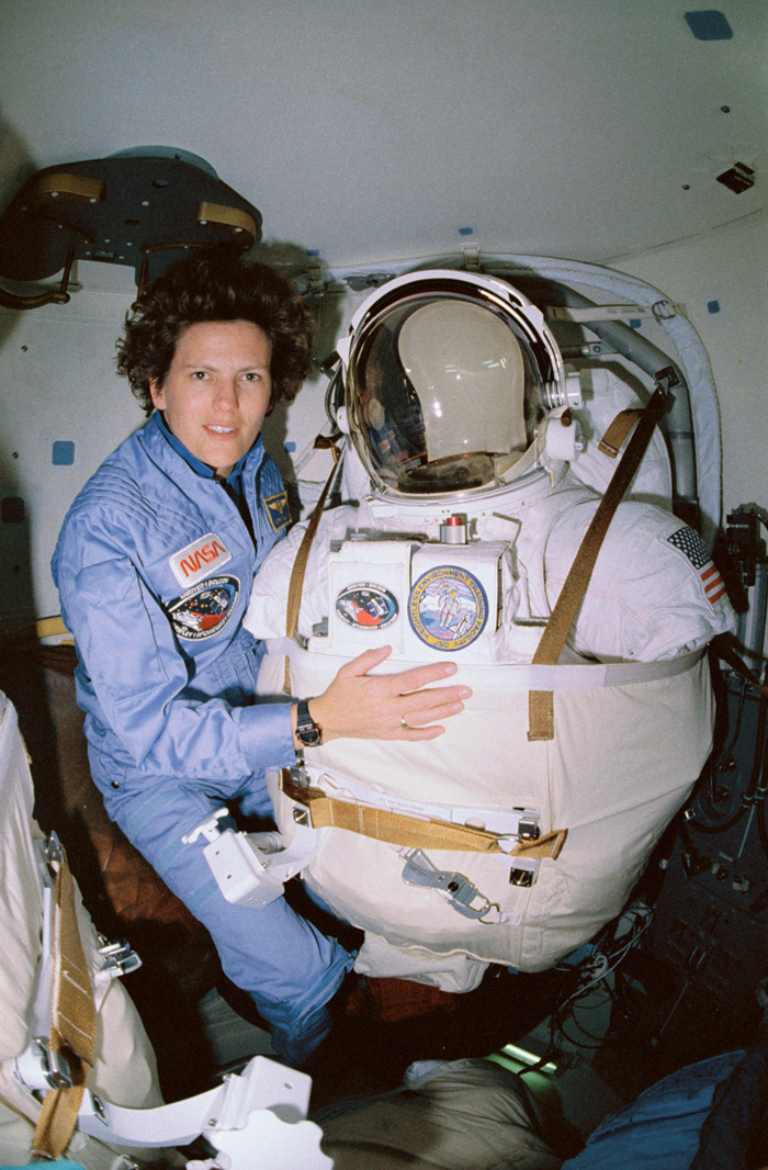 Space History Photo: Kathy Sullivan Dons Her Suit