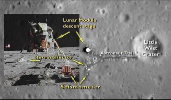 NASA's Lunar Reconnaissance Orbiter caught sight of the landing site of the Apollo 11 moon mission.