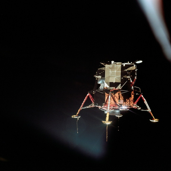 The Apollo 11 lunar module Eagle is seen from the Columbia command module in this photograph by command module pilot Michael Collins on July 20, 1969. Aboard the Eagle, Apollo 11 commander Neil Armstrong and lunar module pilot Buzz Aldrin prepared to land on the surface of the moon for the first time.