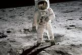 Neil Armstrong's iconic photo of Buzz Aldrin walking on the moon.