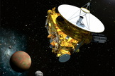 An artist's concept of the New Horizon's spacecraft with Pluto and three of its five moons.