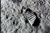 Apollo 11 astronauts Buzz Aldrin and Neil Armstrong made history on July 20, 1969 as the first humans to walk on the moon. Seen here, a closeup of a boot print left behind by one of the astronauts.