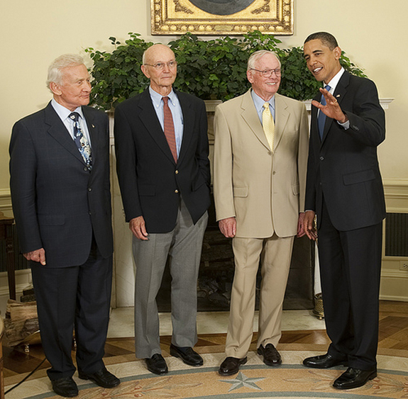 In a rare gathering of all three Apollo 11 crewmembers, Buzz Aldrin, Michael Collins and Neil Armstrong met with President Obama in White House on July 20, 2009, the 40th anniversary of the Apollo 11 lunar landing.