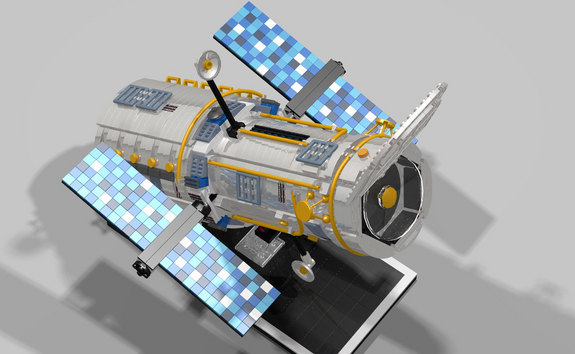 """If you are wondering how I made it round,"" Russo writes about his LEGO Hubble Space Telescope model, ""well... let's say it took a lot of 'technic' parts and a lot of creativity. Can't really say more than that."""