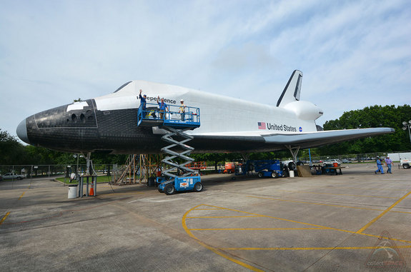 "On Aug. 14, 2014, Space Center Houston will hoist ""Independence,"" its replica space shuttle, atop NASA's Shuttle Carrier Aircraft."