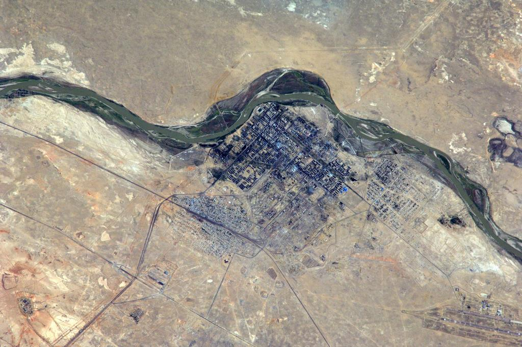 Baikonur, Kazakhstan, Seen from the International Space Station