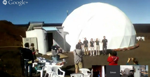 This still from a HI-SEAS 2 mission webcast shows the mock Mars mission crewmembers just after exiting their habitat on July 25, 2014 after four months living inside a dome on Hawaii's Mauna Loa volcano.