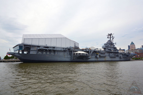 The Intrepid Sea, Air and Space Museum in New York City houses the space shuttle Enterprise under the pavilion on its flight deck.