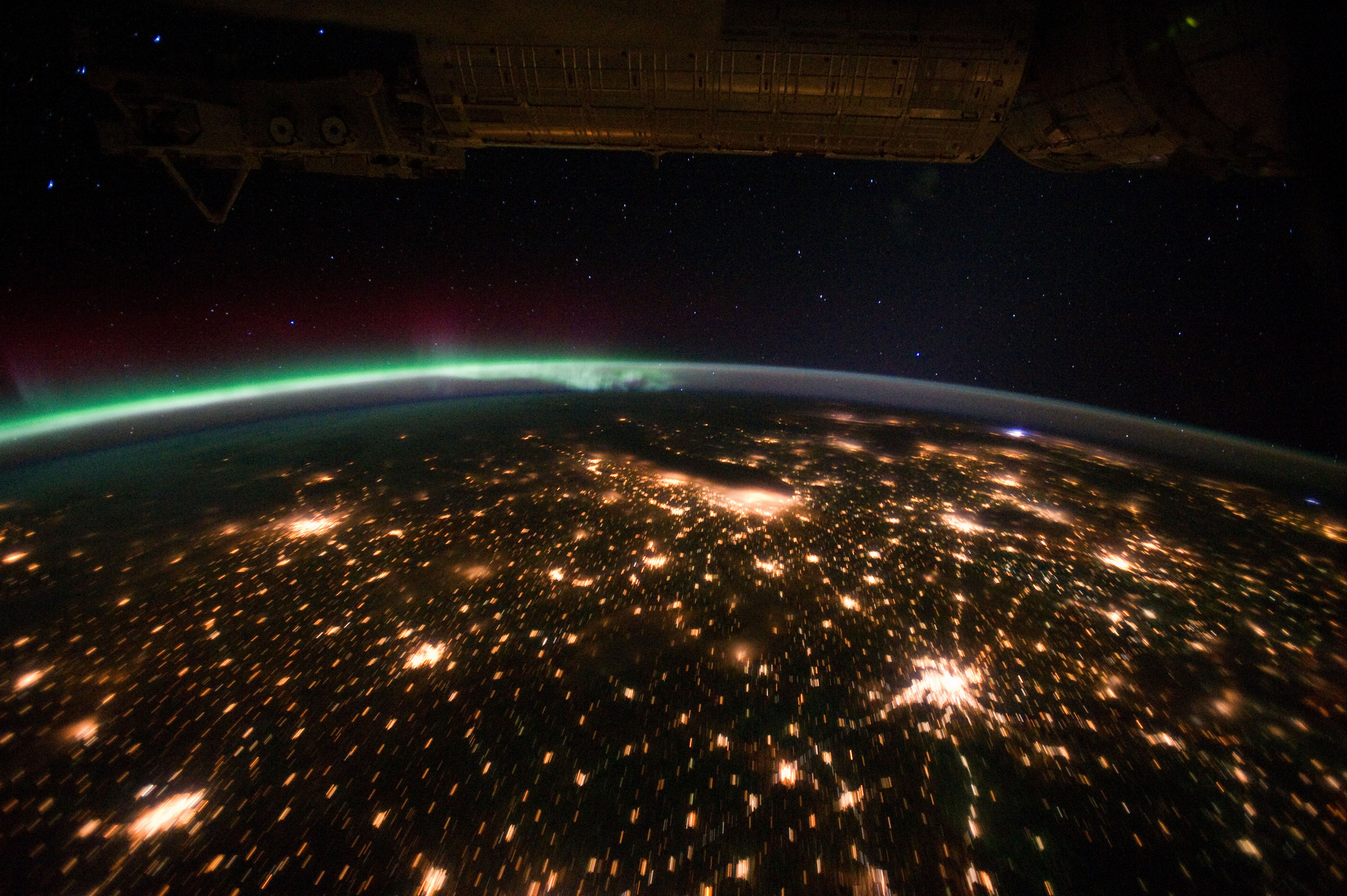 Auroras over Midwestern U.S. at Night