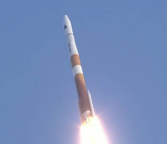 A Delta 4 rocket carrying three space situational awareness satellites for the U.S. Air Force rises into the sky on July 28, 2014.