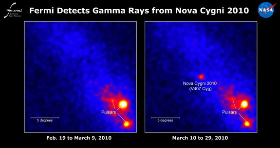 NASA's Fermi Large Area Telescope detects the V407 Cyg nova (right) on March 19, 2010, as shown in these discovery images.  The image at left shows no nova visible 19 days before the discovery.