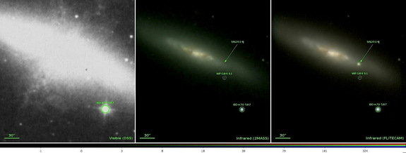The two images at left and center show the central portions of galaxy M82 prior to the supernova explosion. The right image shows supernova SN2014J taken by the FLITECAM instrument on the SOFIA observatory on February 20, 2014.